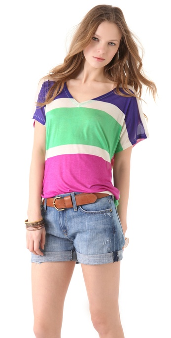 Splendid Block Stripe V Neck Tee