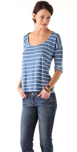 Splendid White Venice Stripe Tee
