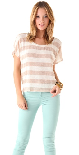 Splendid Metallic Stripe Loose Knit Short Sleeve Top