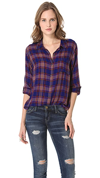Splendid Charlee Plaid Blouse