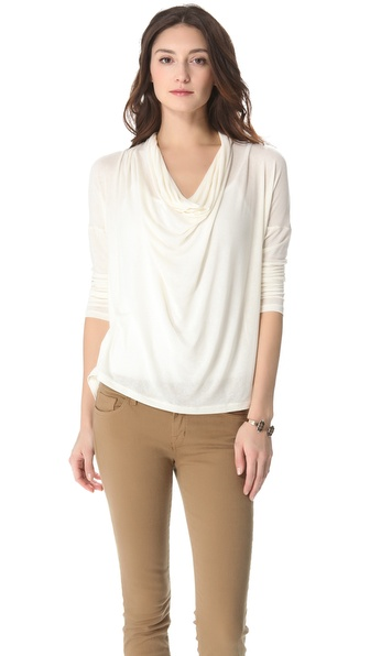 Splendid Drapey Lux Jersey Cowl Neck Tee