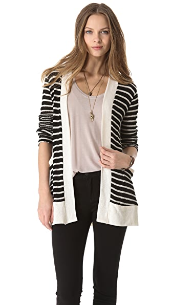 Splendid Panama Stripe Loose Knit Cardigan