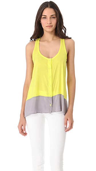 Splendid Colorblock Button Down Tank