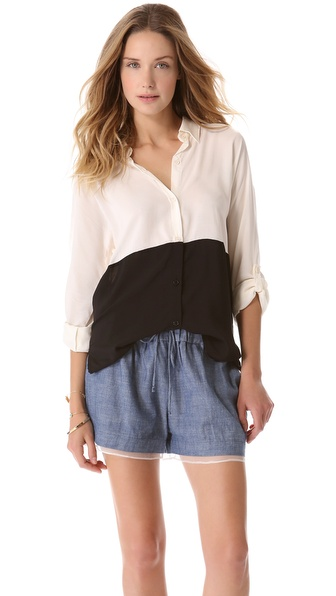 Splendid Colorblock Button Down Shirt