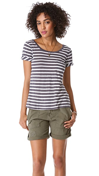 Splendid Scoop Back Stripe Tee