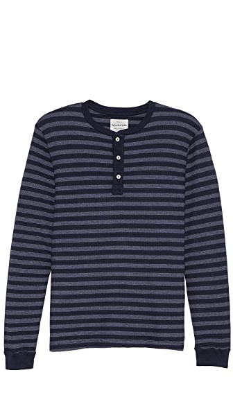 Splendid Stripe Thermal Long Sleeve Henley
