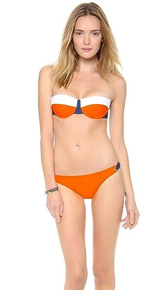 Splendid Sunblock Solids Colorblock Bra Bikini Top