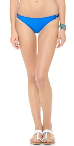Shop Splendid online and buy Splendid Retro Bikini Bottoms - Splendid bikini bottoms feature silver-tone grommets and fabric loops at the sides. Lined.  Shell: 89% nylon/11% elastane. Lining: 100% polyester. Hand wash. Made in the USA. - Blue