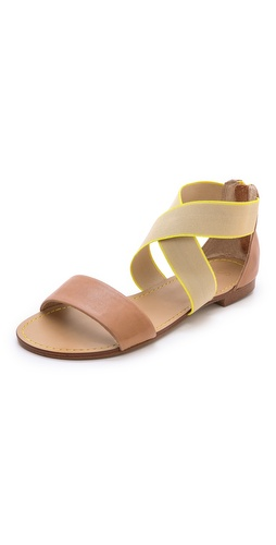 Kupi Splendid cipele online i raspordaja za kupiti Two-tone elastic straps crisscross the ankle of these matte leather Splendid sandals. Exposed back zip. Rubber sole.  Leather: Cowhide. Imported, China. This item cannot be gift-boxed. - Light Tan