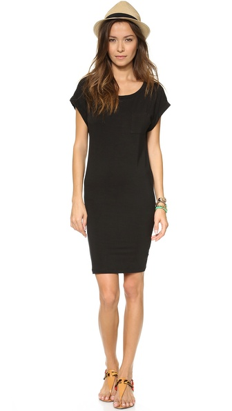 Splendid Pocket Tee Dress - Black