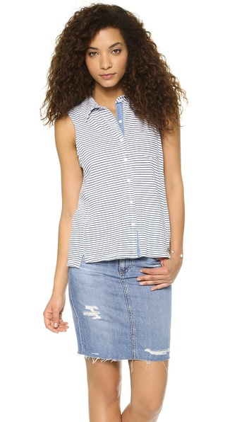 Splendid Indigo Sleeveless Button Down