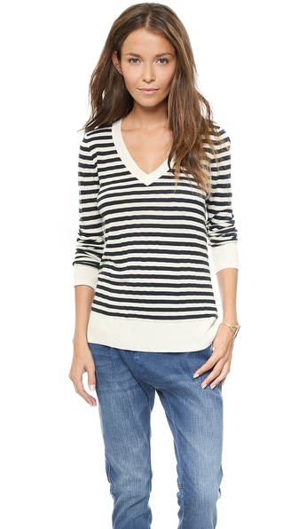 Splendid Striped V Neck Sweater