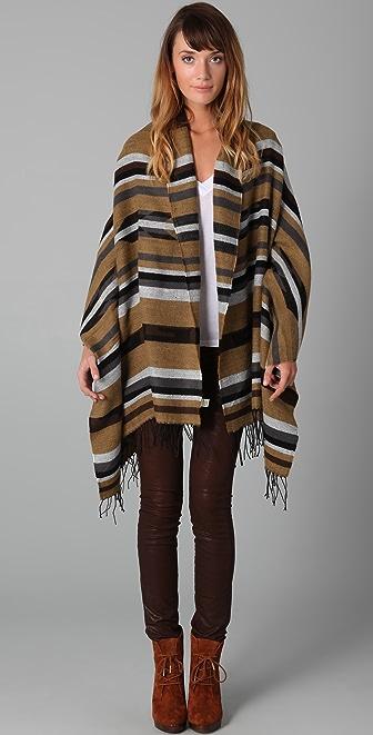 Spun Scarves by Subtle Luxury Stripe Arizona Poncho Shawl