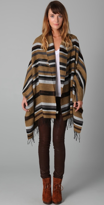 Spun Scarves by Subtle Luxury Stripe Arizona Poncho Shawl