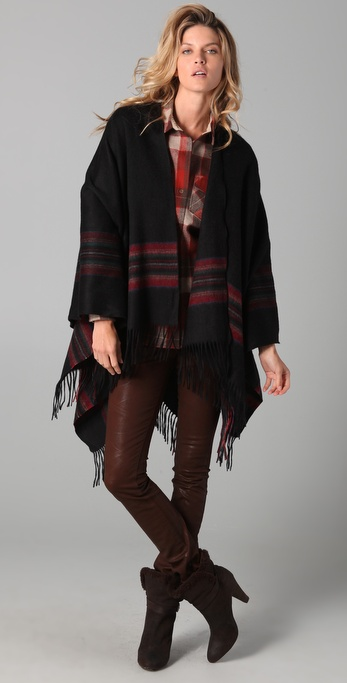 Spun Scarves by Subtle Luxury Plaid Poncho Scarf