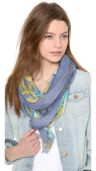 Spun Scarves By Subtle Luxury Ruins Scarf - Blue