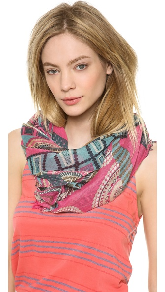Spun Scarves By Subtle Luxury Abstract Patchwork Scarf - Pink