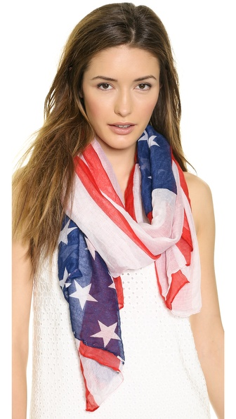 Spun Scarves By Subtle Luxury Usa Flag Scarf - Red/White/Blue