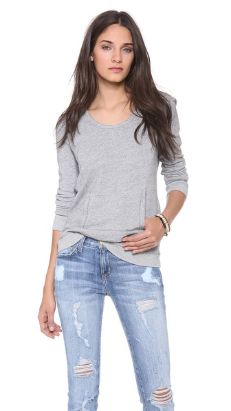 Stateside Scoop Neck Hoodie with Pocket Detail