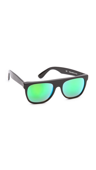 Super Sunglasses Mirrored Cove Flat Top Sunglasses