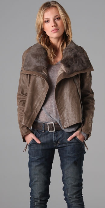 state & lake Fur Collar Leather Jacket