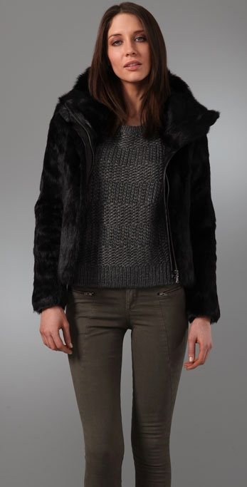 state & lake Long Fur Bomber Jacket