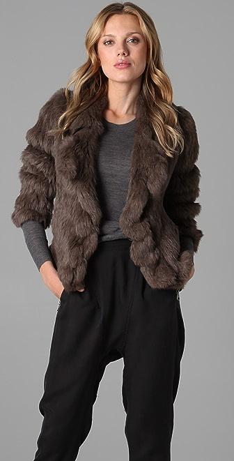 state & lake Fur Ruffle Jacket