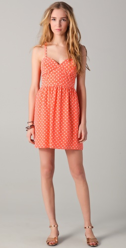 state & lake Polka Dot Bustier Mini Dress
