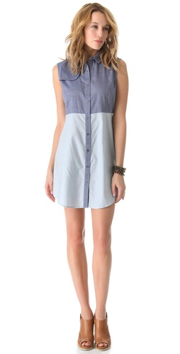 Shop state & lake Chambray Sleeveless Shirtdress and state & lake online - Apparel, Womens, Dresses, Day_to_Night,  online Store
