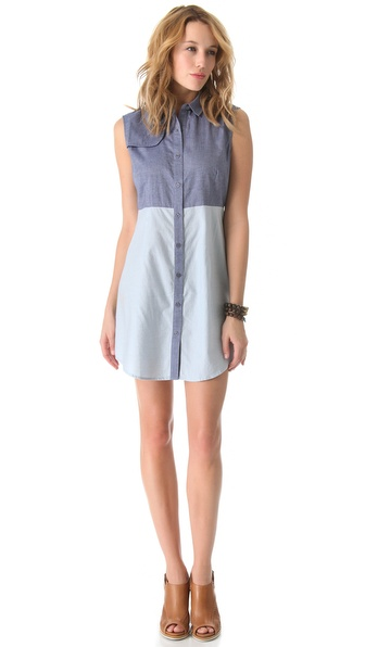 state & lake Chambray Sleeveless Shirtdress