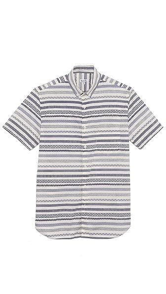 Steven Alan Pattern Stripe Short Sleeve Shirt