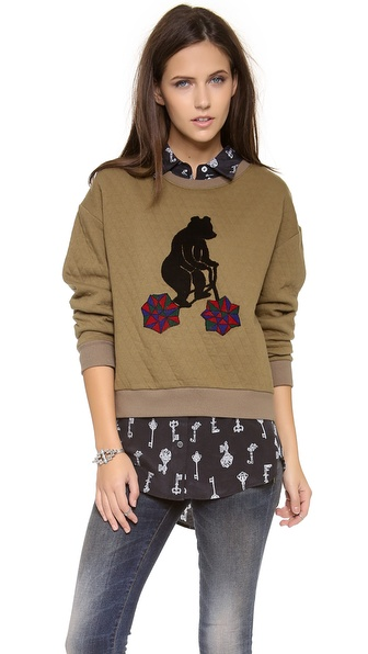 Stripe by N Bear Quilt Sweatshirt