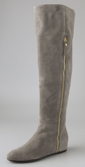 Stuart Weitzman Elf Suede Over the Knee Wedge Boots