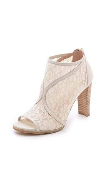 Stuart Weitzman Lace Open Toe Booties