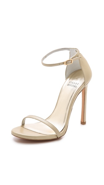 Stuart Weitzman Nudist Single Band Sandals - Pale Gold