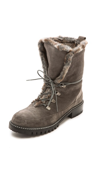 Stuart Weitzman Bobsled Faux Fur Suede Hiking Boots