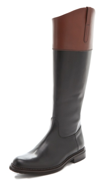Studio Pollini Flat Two Tone Riding Boots