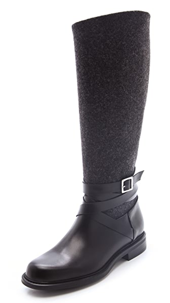 Studio Pollini Felt & Leather Moto Boots