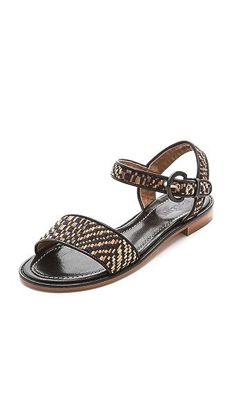 Studio Pollini Woven Raffia Flat Sandals