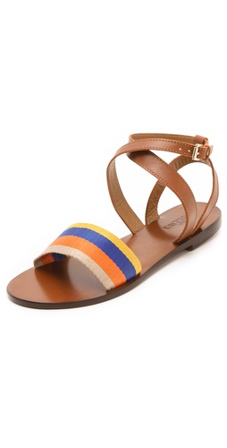Shop Studio Pollini Striped Flat Sandals and Studio Pollini online - Footwear,Womens,Footwear,Sandals, online Store