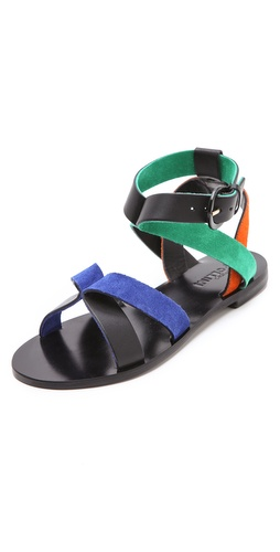 Shop Studio Pollini Multicolor Flat Sandals and Studio Pollini online - Footwear,Womens,Footwear,Sandals, online Store