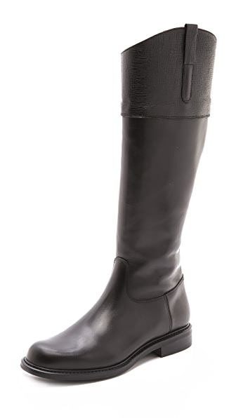 Studio Pollini Textured Cuff Riding Boots