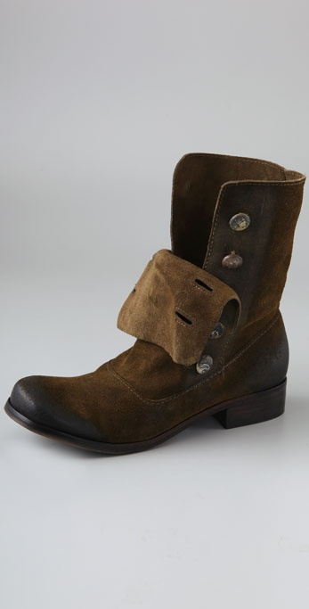 Steven Adeson Flat Suede Boots with Buttons