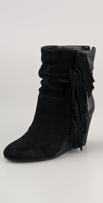 Steven Fringed Suede Wedge Booties