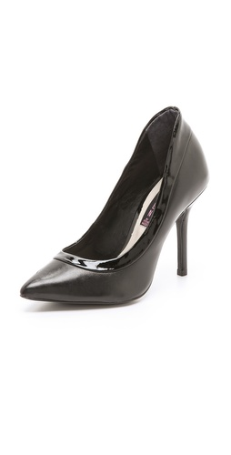 Shop Steven online and buy Steven Aftrdark Pumps - A patent panel traces the asymmetrical top line on sexy, pointed-toe pumps. Covered heel and leather sole.  Leather: Cowhide. Made in Brazil. This item cannot be gift-boxed.  MEASUREMENTS Heel: 3.75in / 95mm - Black