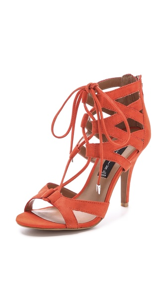 Kupi Steven cipele online i raspordaja za kupiti Suede Steven sandals styled with a lattice of straps and a lace up closure. Exposed back zip. Rubber sole. Leather: Kidskin. Imported, China. This item cannot be gift boxed. Measurements Heel: 3.5in / 90mm. Available sizes: 7.5,9