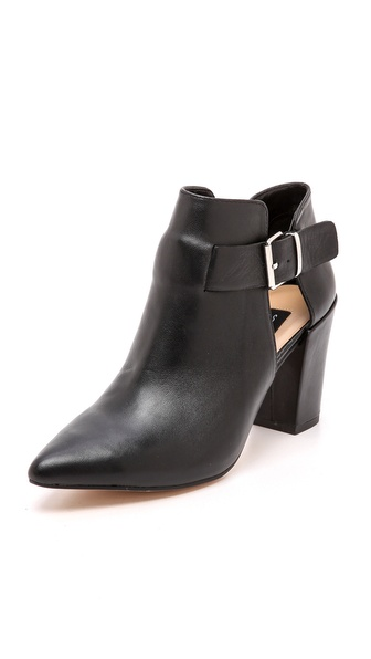 Kupi Steven cipele online i raspordaja za kupiti A wrapped buckle strap secures the cutout shaft of pointed toe Steven booties. Chunky, covered heel and rubber sole. Leather: Kidskin. Imported, China. This item cannot be gift boxed. Measurements Heel: 3in / 75mm. Available sizes: 5.5,6,6.5,7,7.5,8,8.5,9,10
