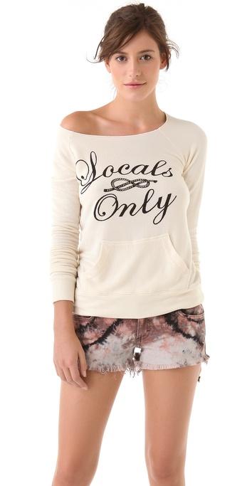 SUNDRY Pocket Off Shoulder Sweatshirt