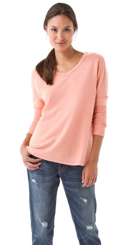Shop SUNDRY Long Sleeve Boxy V Neck Tee - SUNDRY online - Apparel,Womens,Tops,Tee, at Lilychic Australian Clothes Online Store