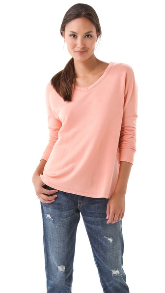 SUNDRY Long Sleeve Boxy V Neck Tee